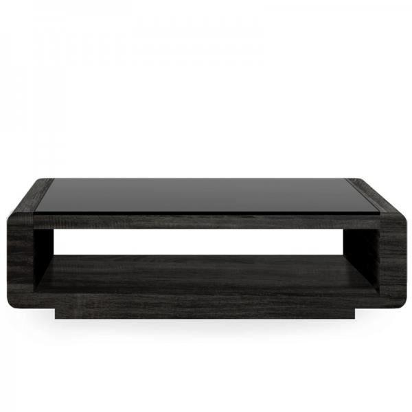 Table basse miami bois noir et verre achat vente table basse table basse - Table basse noir bois ...