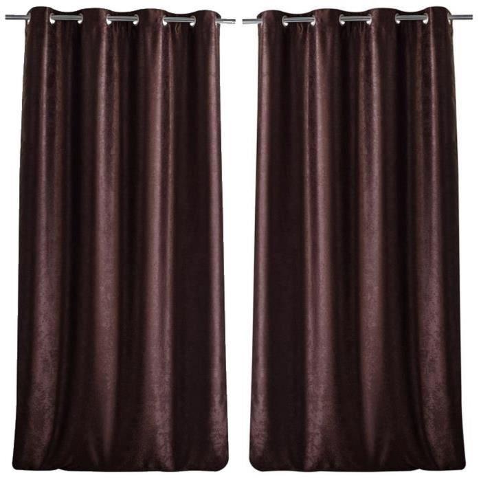 paire de double rideaux occultant effet velours 140x260cm chocolat achat vente rideau. Black Bedroom Furniture Sets. Home Design Ideas
