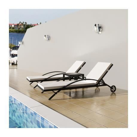 transat noir avec coussins et dossier ajustable achat vente chaise longue transat noir. Black Bedroom Furniture Sets. Home Design Ideas