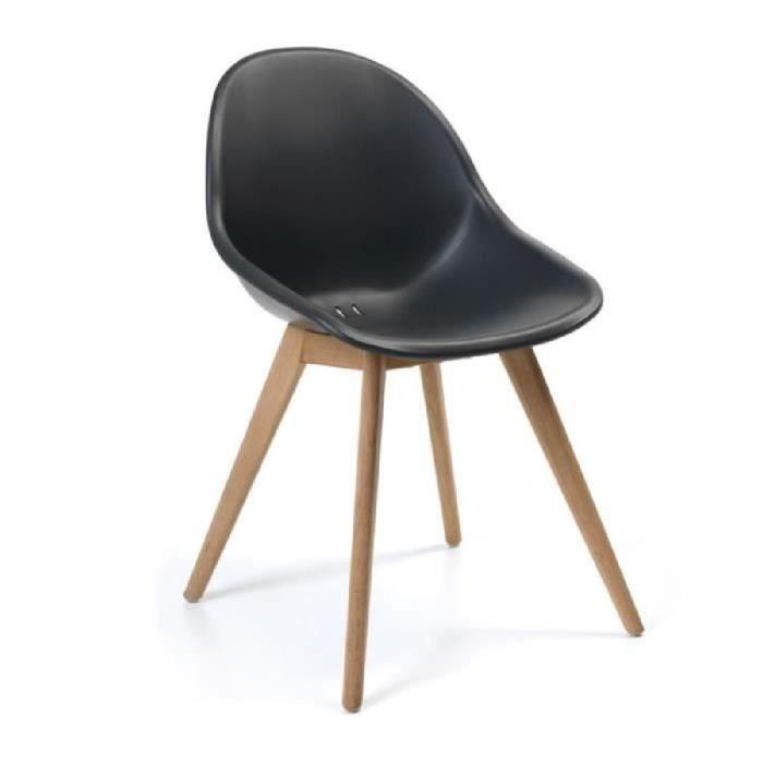 Les 2 chaises en polypropyl ne noir et teck khol noir for Les 3 suisses chaises