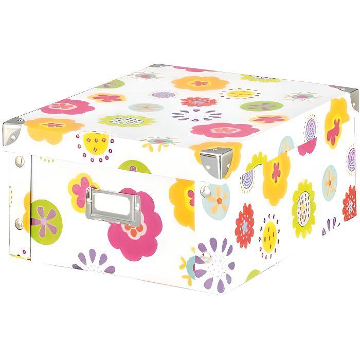 boite de rangement carton s fleurs achat vente boite de rangement carton cdiscount. Black Bedroom Furniture Sets. Home Design Ideas