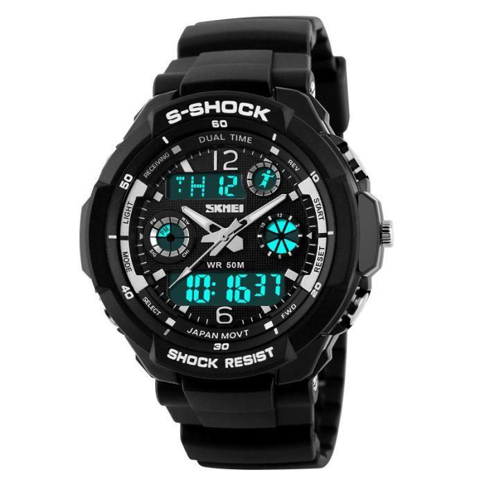 Double affichage sport montre homme d 39 horloge num rique led militaire wat - Horloge double cadran ...
