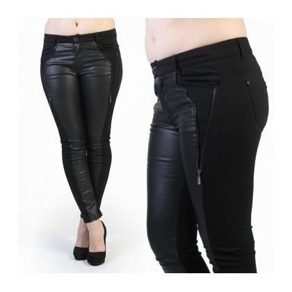 jegging jeans grande taille noir avec empi cement cuir noir achat vente pantalon cdiscount. Black Bedroom Furniture Sets. Home Design Ideas