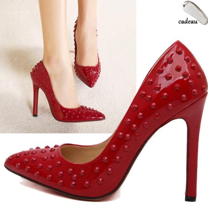 iful noir escarpins talon femme avec semelle rouge talon de 11cm chaussures avec rivet. Black Bedroom Furniture Sets. Home Design Ideas