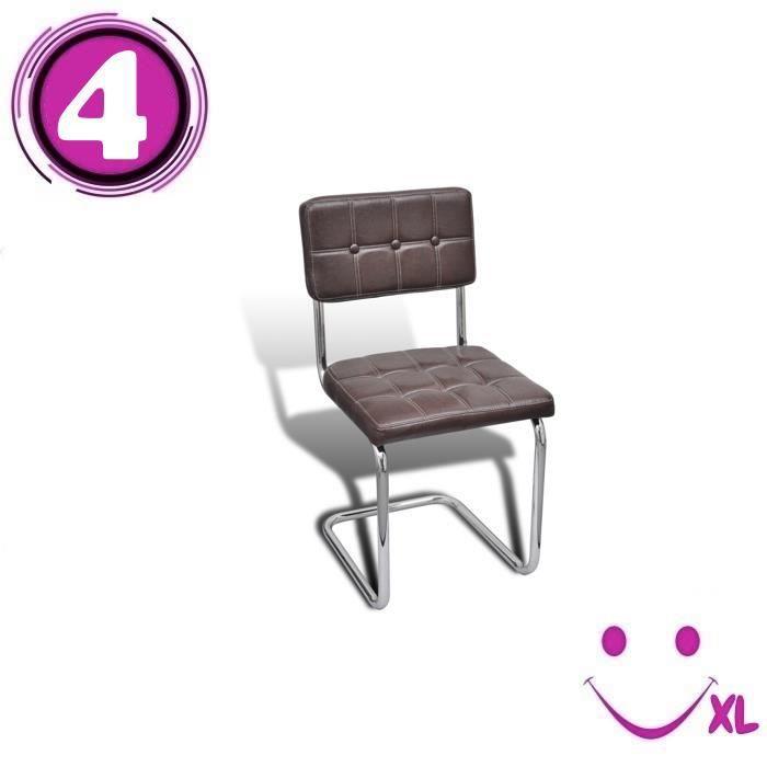 4 chaises boutons de salle manger en similicuir brun for Chaise de salle a manger brun