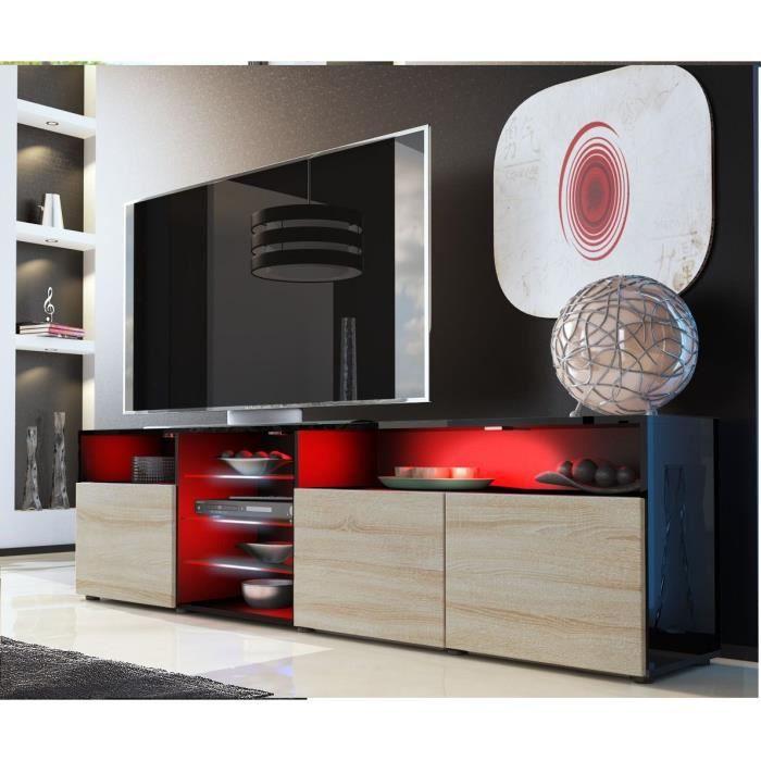 Meuble tv noir et bois brut avec tag re vitr e achat for Meuble tv noir bois