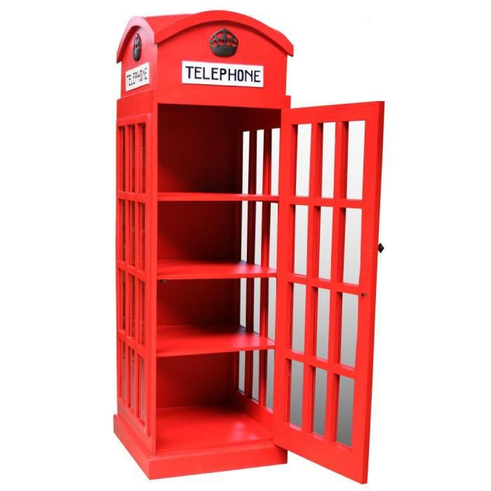 Vitrine biblioth que cabine t l phone anglaise achat for Meuble cabine telephonique anglaise