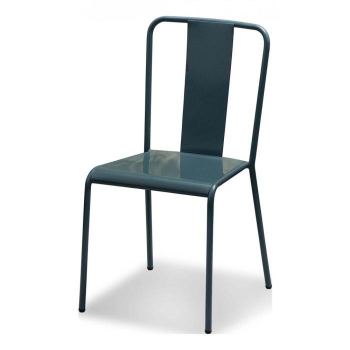 Chaise grise en m tal tempo lot de 4 inwood achat for Chaise qui s accroche a la table