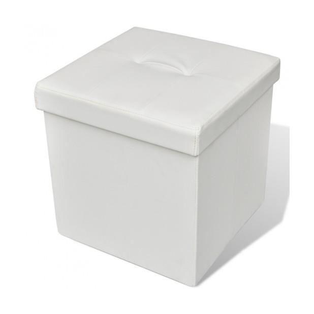 superbe pouf de rangement pliant ottoman blanc achat vente pouf poire cdiscount. Black Bedroom Furniture Sets. Home Design Ideas