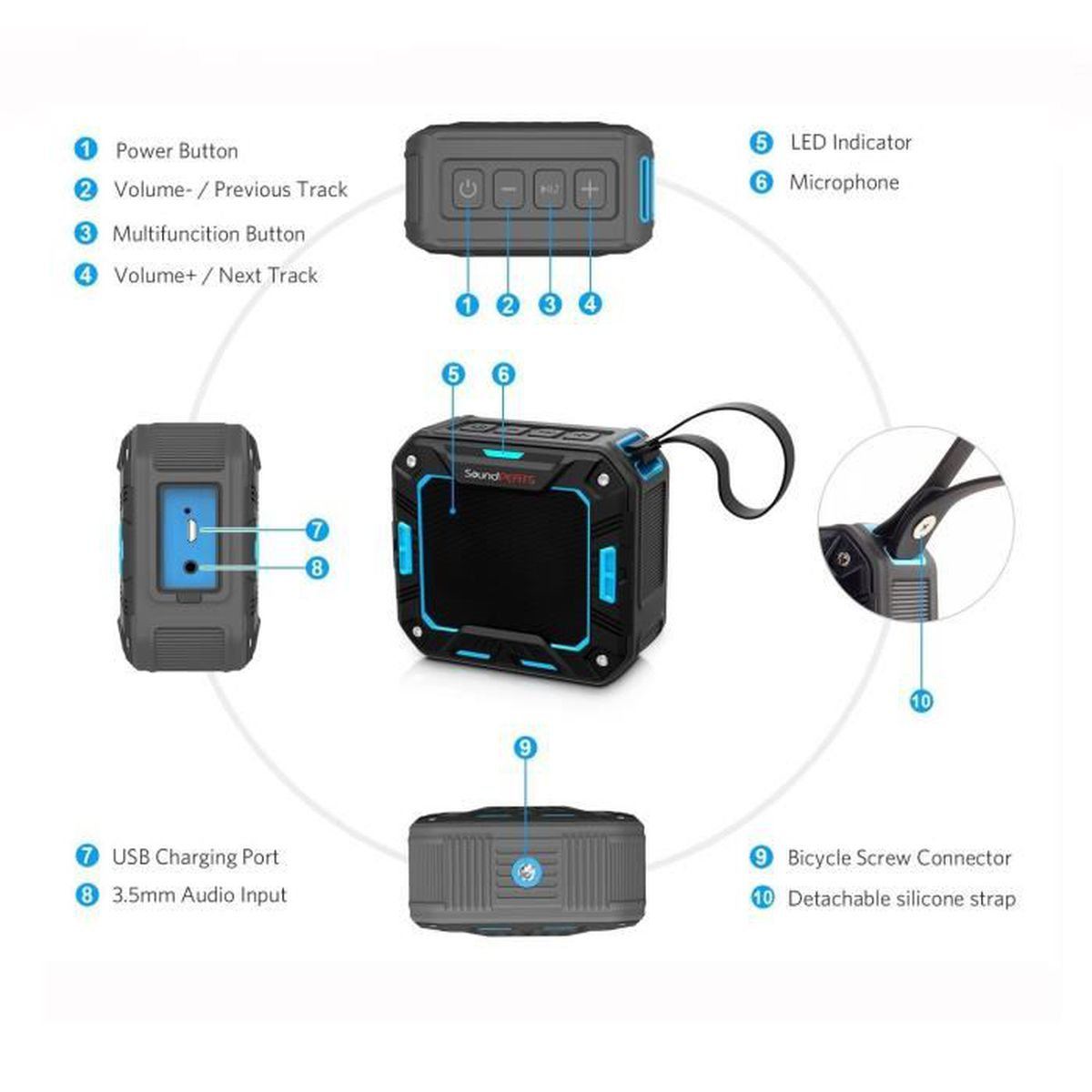 Alpexe enceinte bluetooth portable haut parleur sans fil for Haut parleur etanche pour piscine