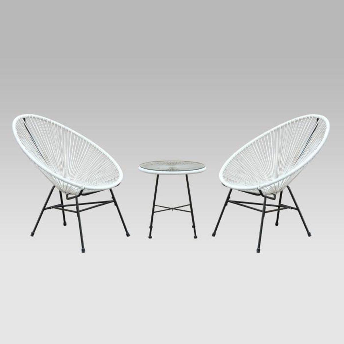 2 fauteuils acapulco design oeuf avec table d 39 appoint achat vente salon de jardin 2. Black Bedroom Furniture Sets. Home Design Ideas