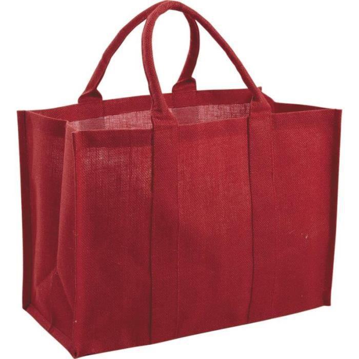 sac cabas de course en jute plastifi e rouge achat vente sac shopping 2009870169525 cdiscount. Black Bedroom Furniture Sets. Home Design Ideas