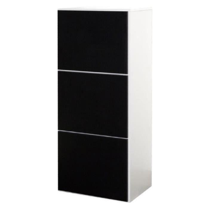 shoes meuble chaussures 50 cm blanc et noir achat vente meuble chaussures shoes meuble. Black Bedroom Furniture Sets. Home Design Ideas