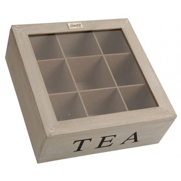 boite a the en bois 9 compartiments achat vente boites. Black Bedroom Furniture Sets. Home Design Ideas