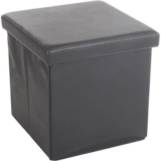 Tabouret pouf coffre de rangement pliable gris achat vente pouf poire b - Coffre rangement avec assise ...