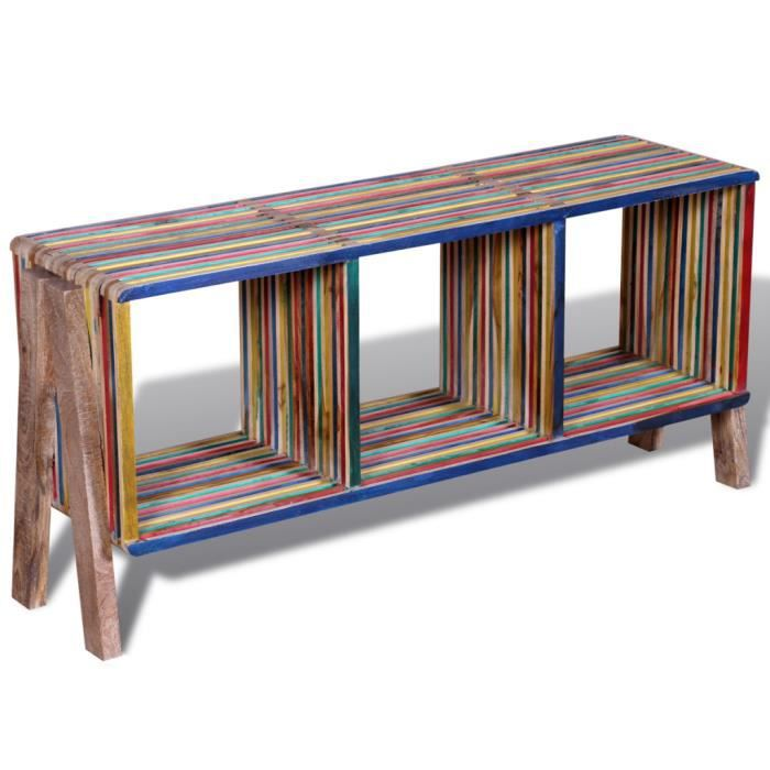 Meuble tv multicolore empilable avec 3 tag res comme for Meuble 110x50