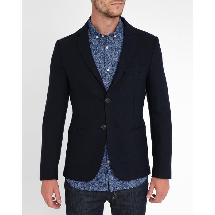 Blazer bleu marine piqu pour homme bleu bleu achat vente veste cdiscount - Blazer bleu marine homme ...