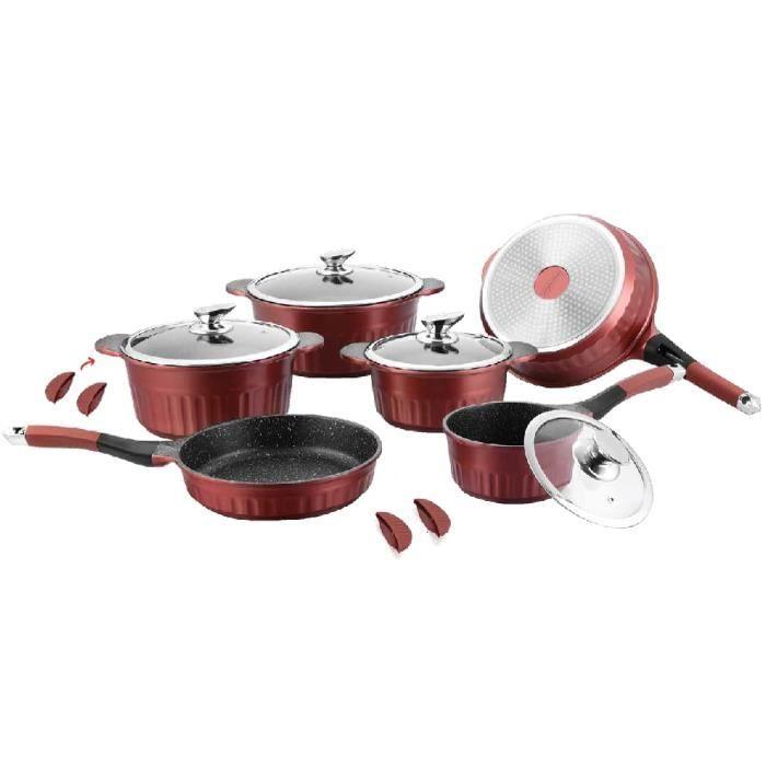 Batterie de cuisine 14 pi ces bordeaux avec motif achat - Ustensiles de cuisine bordeaux ...