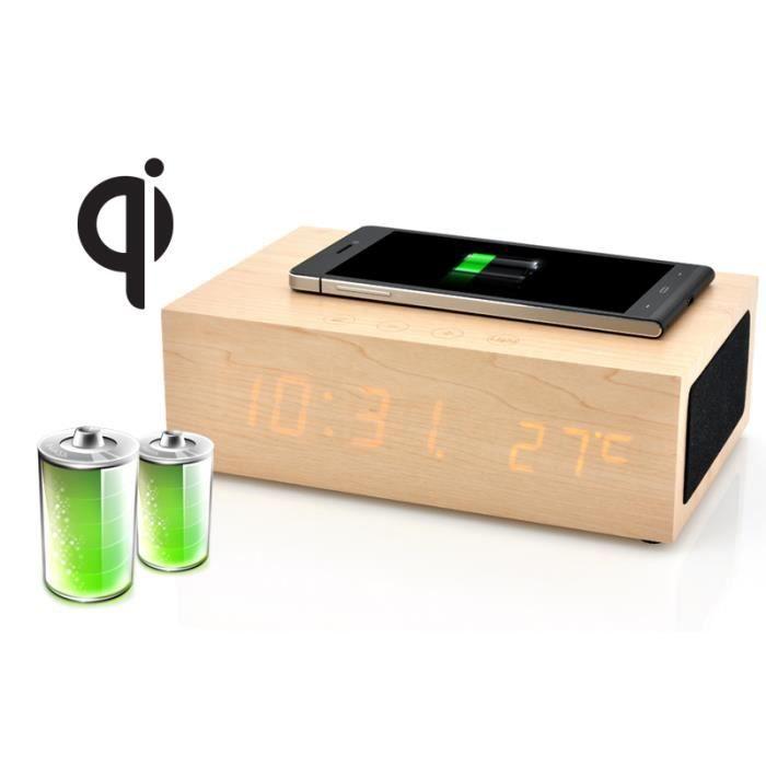Chargeur qi qibox sans fil chargeur en bois led horloge chargeur adaptateur avis et prix - Horloge murale led sans fil ...