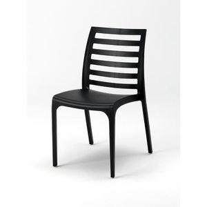 fauteuil jardin 4 chaises en plastique resine empilable color caf - Chaise Jardin Colore