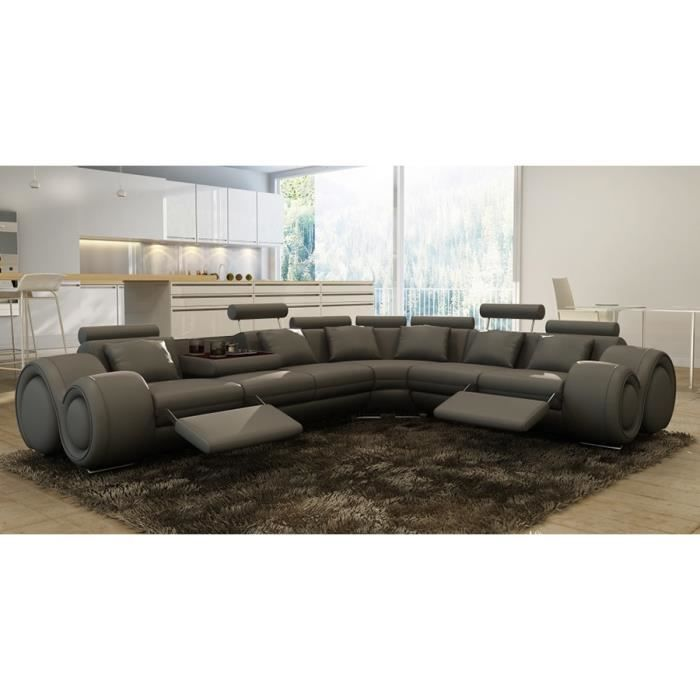 Canap d 39 angle design cuir gris relax oslo achat vente for Canape angle cuir gris