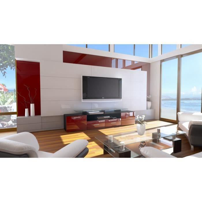 Meuble tv design laqu noir et bordeaux avec led 194 cm achat vente meubl - Meuble design bordeaux ...