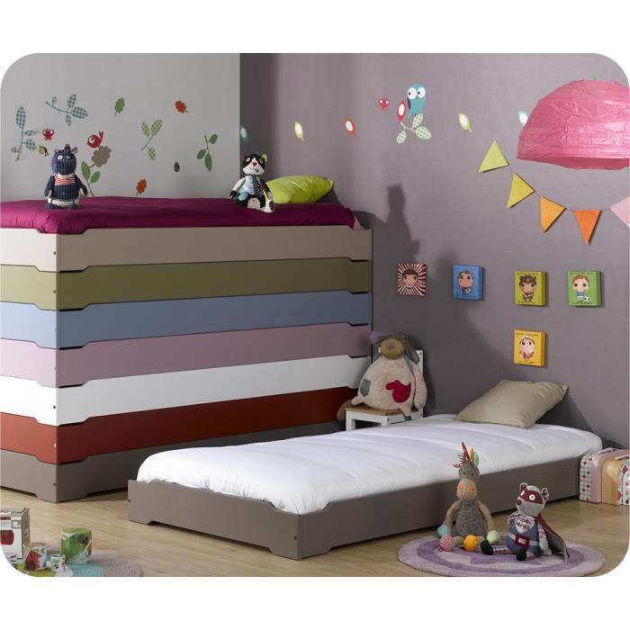 pack 2 lits enfants empilables taupe et 2 matelas achat vente lit escamotable pack 2 lits. Black Bedroom Furniture Sets. Home Design Ideas