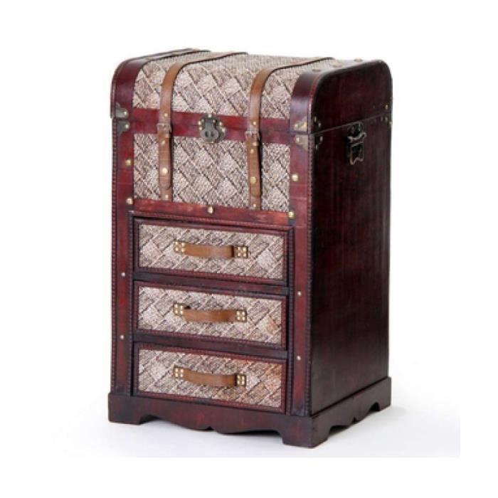 malle en bois avec 3 tiroirs chiffonnier vintage achat vente chiffonnier semainier malle. Black Bedroom Furniture Sets. Home Design Ideas