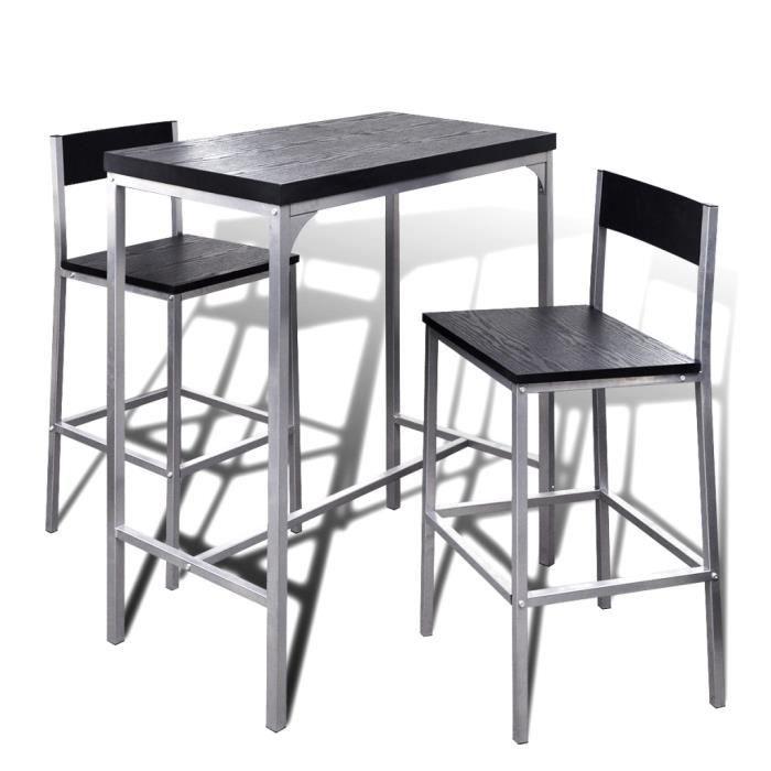 2pcs chaises moderne table en acier mdf jeu de bar