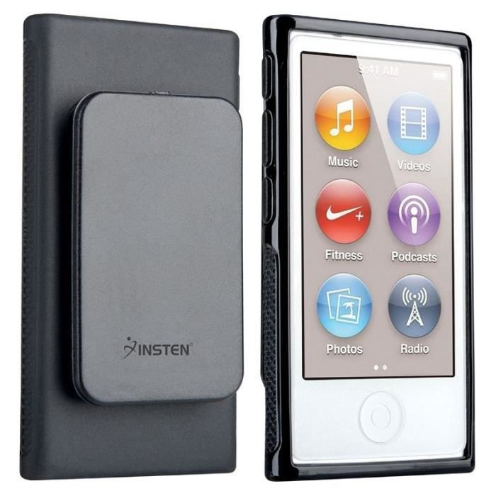 Insten housse noir avec clip ceinture coque tui tpu case for Housse ipod nano 7