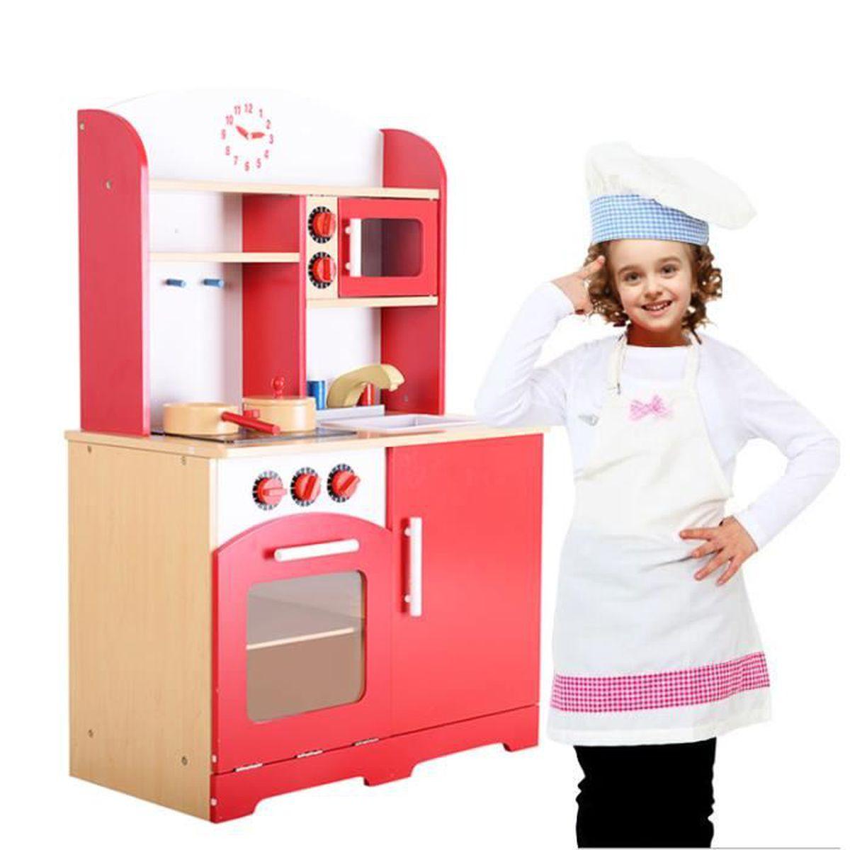 cuisine jouet pour enfant en bois jeu du r le d imitation int ress rouge neuf achat vente. Black Bedroom Furniture Sets. Home Design Ideas