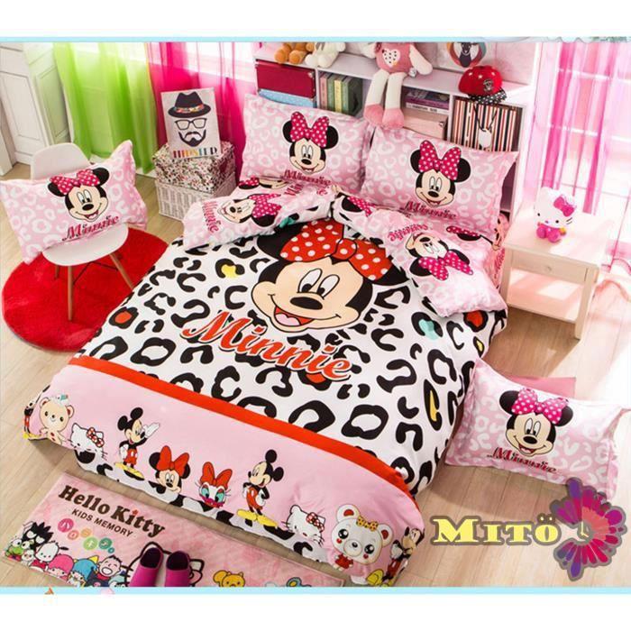 parure de lit minnie mignonne coton 200 230 cm 4 pieces achat vente housse de couette. Black Bedroom Furniture Sets. Home Design Ideas