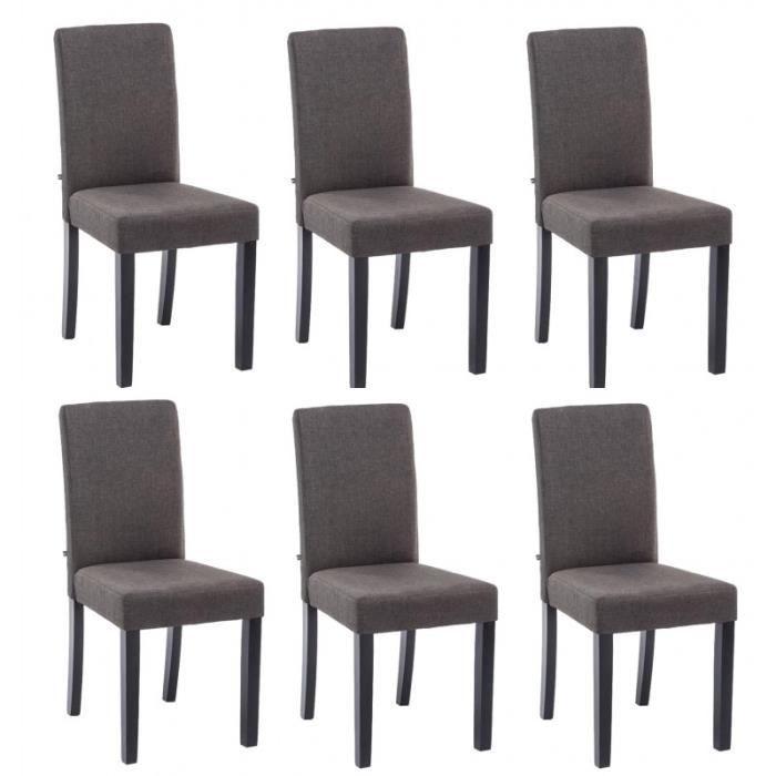 Lot de 6 chaises de salle manger en tissu gris fonc pieds bois noir cds10218 achat vente - Lot de 6 chaises salle a manger ...