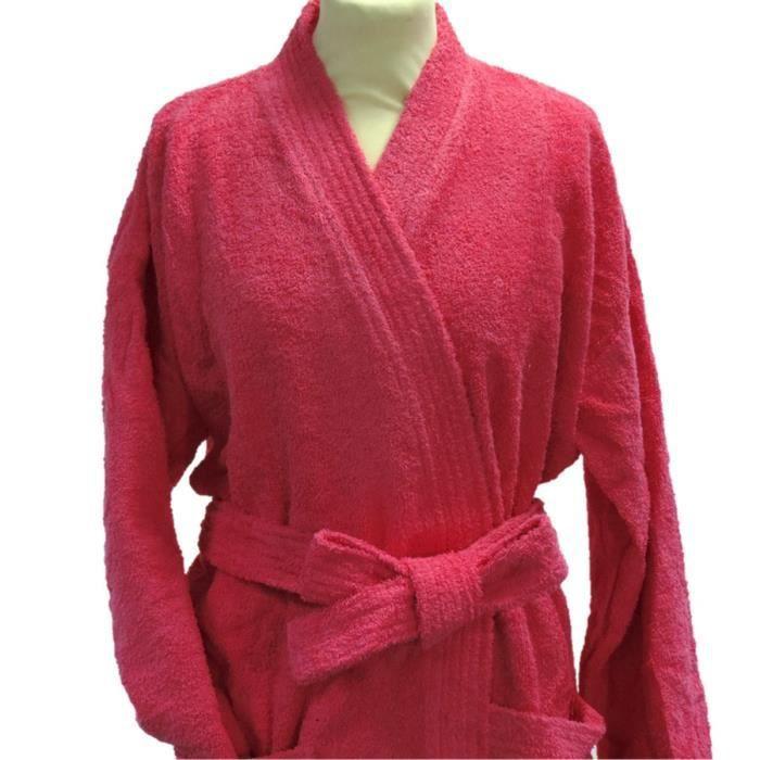 peignoir adulte en coton coloris rose achat vente peignoir cdiscount. Black Bedroom Furniture Sets. Home Design Ideas