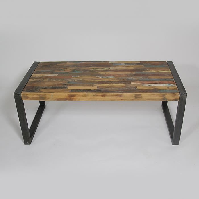 Table basse industry m tal et bois color boi achat for Table bois metal design