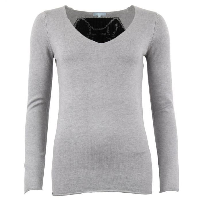 Pull moxe femme version sud gris gris achat vente pull for Version sud