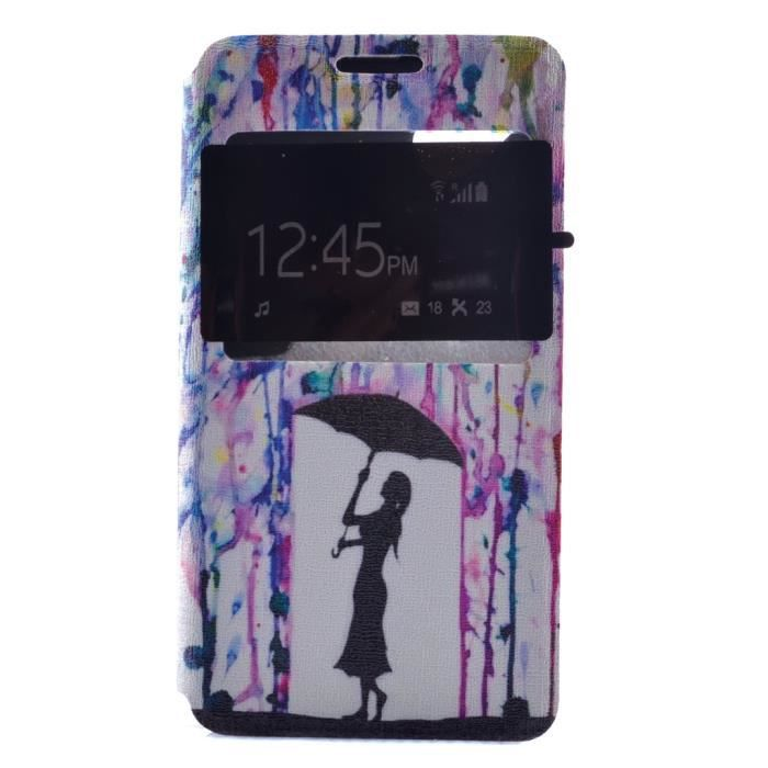 Ruilean cuir portefeuille housse tui pour wiko sunset2 for Stand parapluie occasion