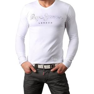 T-SHIRT T Shirt Pepe Jeans Homme Manches Longues Blanc