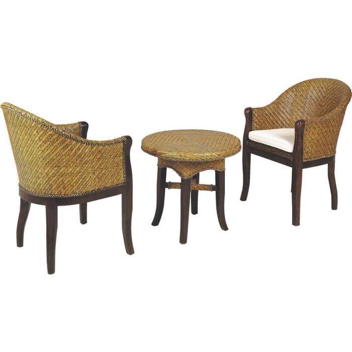 Ensemble salon 3 pi ces 2 fauteuils 1 table basse ronde for Ensemble de salon complet