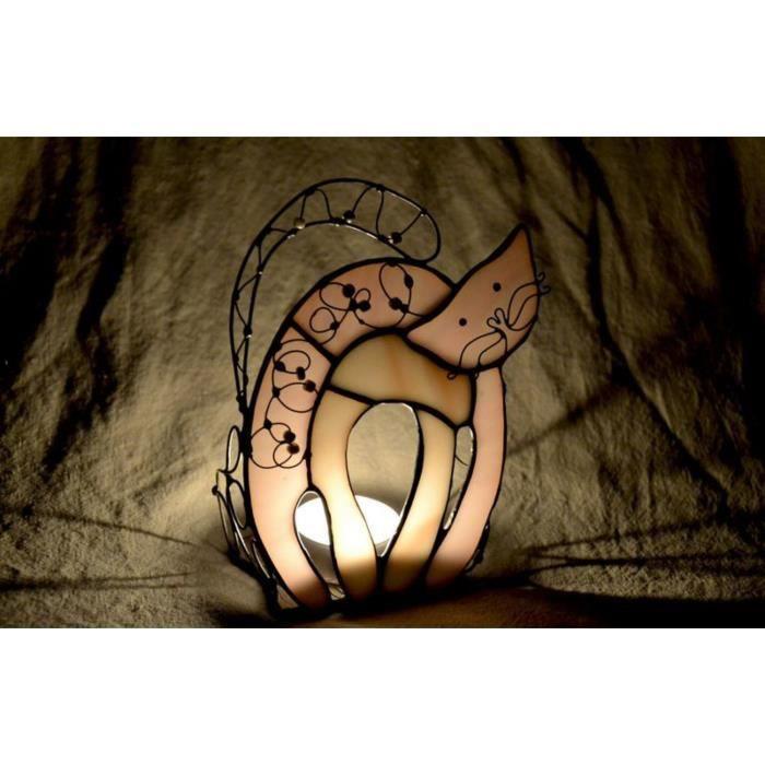 Chandelier en verre vitrail fait main Chat qui porte bonheur Achat