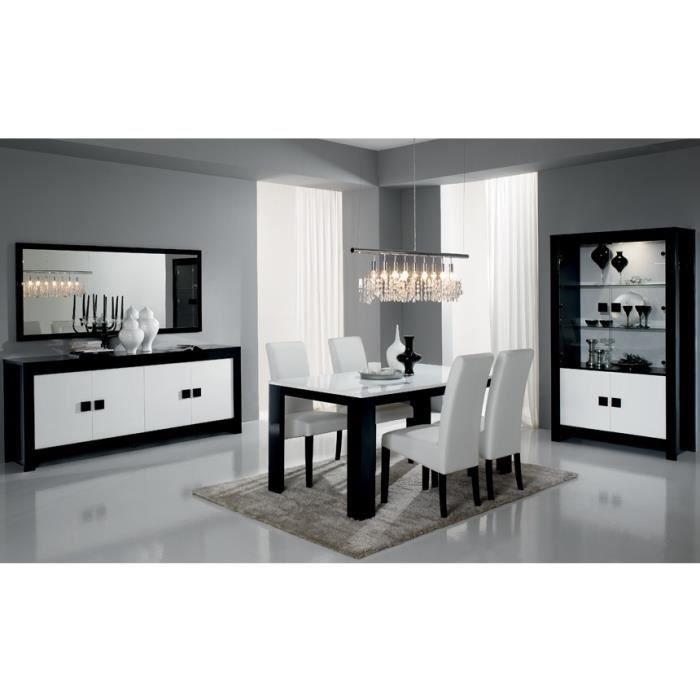 table repas laqu e et ses chaises noir et blanc pisi option table et 4 chaises achat. Black Bedroom Furniture Sets. Home Design Ideas
