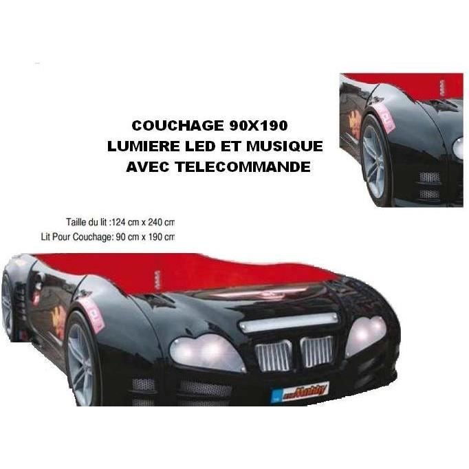 lit voiture enfant noir achat vente structure de lit cdiscount. Black Bedroom Furniture Sets. Home Design Ideas
