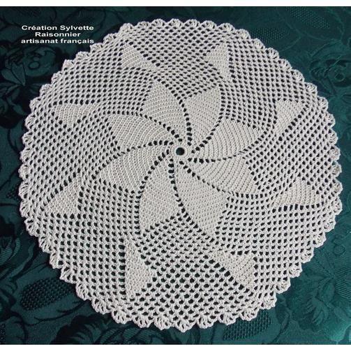 Napperon crochet fait main rond ecru 30cm achat vente - Napperon crochet chemin de table ...