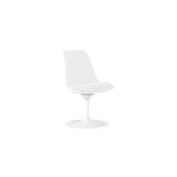 chaise tulipe avec rev tement pu blanc achat vente chaise blanc cdiscount. Black Bedroom Furniture Sets. Home Design Ideas