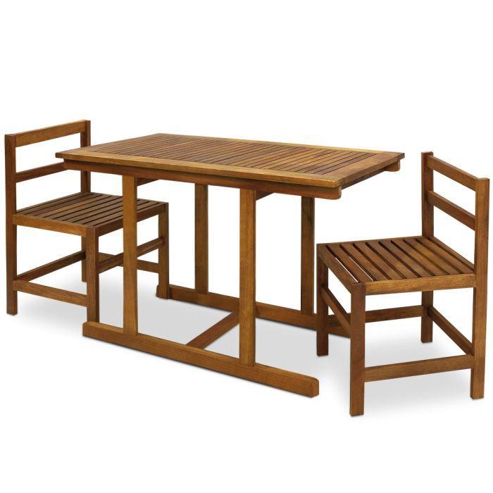 salon de jardin acacia elegance 2 chaises 1 t achat vente salon de jardin ensemble 2. Black Bedroom Furniture Sets. Home Design Ideas