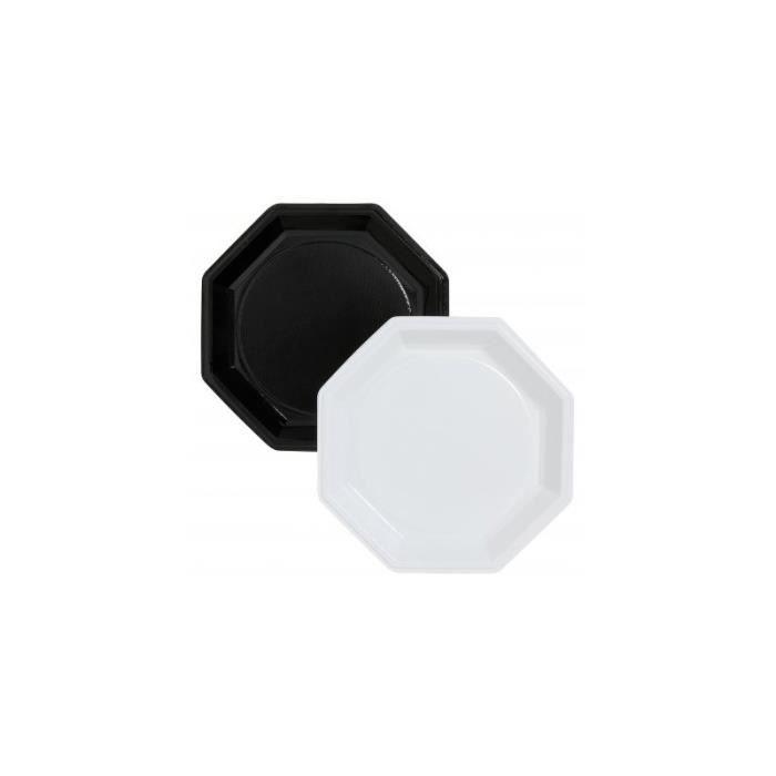 assiettes octogonales noires ou blanches diametre 245mm blanc achat vente assiette jetable. Black Bedroom Furniture Sets. Home Design Ideas
