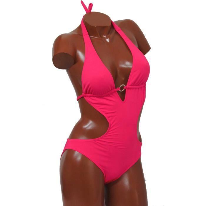maillot de bain femme trikini 1 pi ce noir ou rose rose achat vente maillot de bain cdiscount. Black Bedroom Furniture Sets. Home Design Ideas