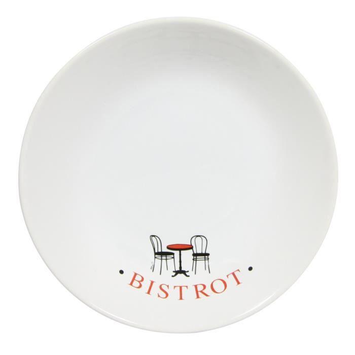 assiette creuse en fa ence blanc rouge lot de 6 bistrot parisien achat vente. Black Bedroom Furniture Sets. Home Design Ideas