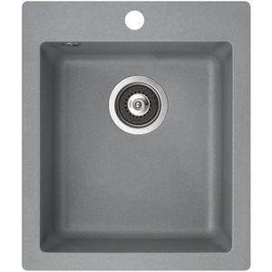 EVIER DE CUISINE Evier carré 1 bac sans égouttoir - granit GRIS