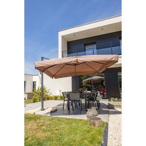 PARASOL Parasol aluminium carré déporté 3x3m - Taupe